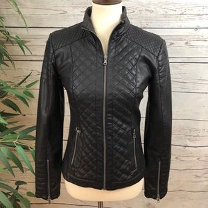 Bar lll Vegan Leather Fitted Quilted Moto Jacket
